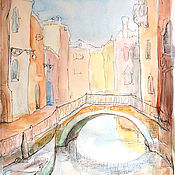 Картины и панно handmade. Livemaster - original item Venice Watercolour the Bridge 21h30 cm. Handmade.