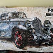 Подарки к праздникам ручной работы. Ярмарка Мастеров - ручная работа Панно на толстом дереве Ретро-авто. Walter Junior. Handmade.