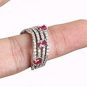 Украшения handmade. Livemaster - original item Stylish ring with cherry Rubies and white Topaz, silver. Handmade.