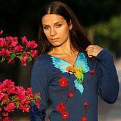 Одежда handmade. Livemaster - original item Knitted blue dress, knit woman dress, wool dress.. Handmade.