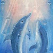 Картины ручной работы. Ярмарка Мастеров - ручная работа Дельфины. Handmade.