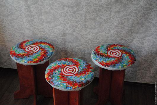 """Мебель ручной работы. Ярмарка Мастеров - ручная работа. Купить Табурет """"Цветочный вихрь"""". Handmade. Комбинированный, табуретка, пэчворк"""