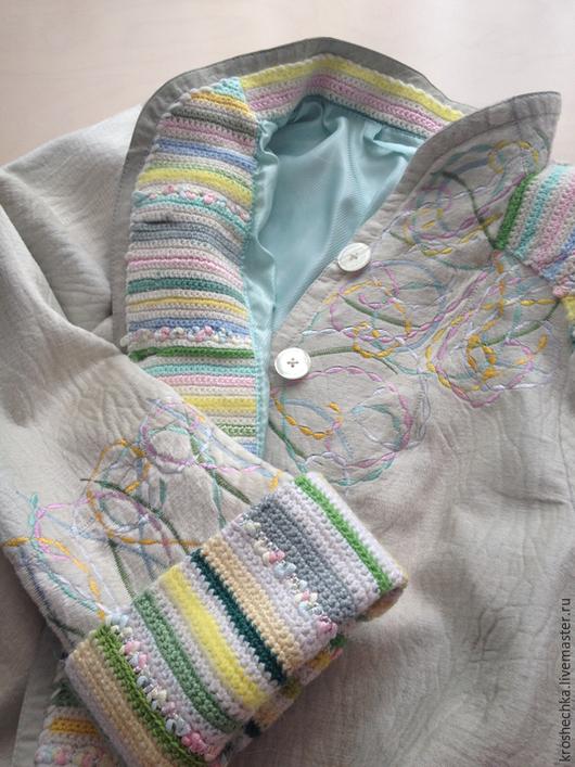 Верхняя одежда ручной работы. Ярмарка Мастеров - ручная работа. Купить Вышивка дубленки. Handmade. Разноцветный, шерстяная пряжа