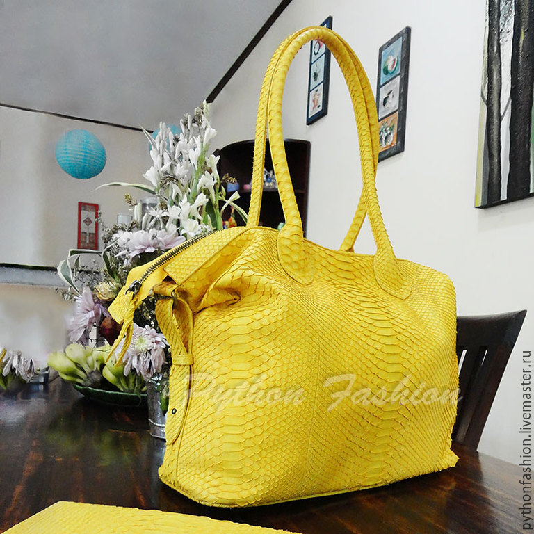 Bag made of Python. Pimonova large bag with long handles. Beautiful female bag for travel. Elegant yellow bag Python. Bright fashion bag leather Python. Women's handbag handmade.