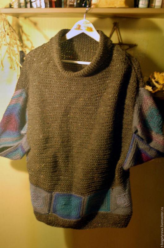 Кофты и свитера ручной работы. Ярмарка Мастеров - ручная работа. Купить бохо свитер oversize. Handmade. Хаки, осень 2016