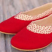 """Обувь ручной работы. Ярмарка Мастеров - ручная работа Валяные туфельки-балетки """"Red"""". Handmade."""
