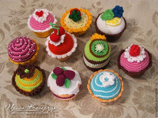 Еда ручной работы. Ярмарка Мастеров - ручная работа. Купить Вязаные пирожные. Handmade. Пирожные, еда для кукол, кукольная еда