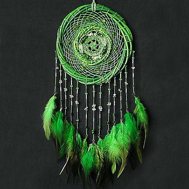 Феншуй ручной работы. Ярмарка Мастеров - ручная работа Ловец снов Клевер, зеленый природный яркий. Handmade.