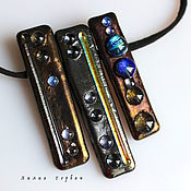 Украшения handmade. Livemaster - original item necklace of glass, fusing the Starry sky. Handmade.