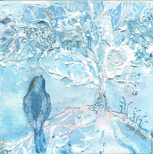 Древо заветных желаний. Кружевная картина-сказка на холсте . Аркил, кружево, уникальная авторская идея. Сказка в теплоте рук Алены Коневой
