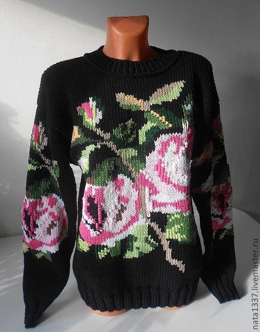 Кофты и свитера ручной работы. Ярмарка Мастеров - ручная работа. Купить Джемпер с розами из шерсти. Handmade. Черный, цветочный узор