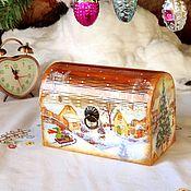 Сувениры и подарки handmade. Livemaster - original item New Year`s Chest Winter Fun. Handmade.