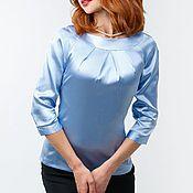 """Одежда ручной работы. Ярмарка Мастеров - ручная работа Блузка шелковая """"Небесно-голубая"""". Handmade."""