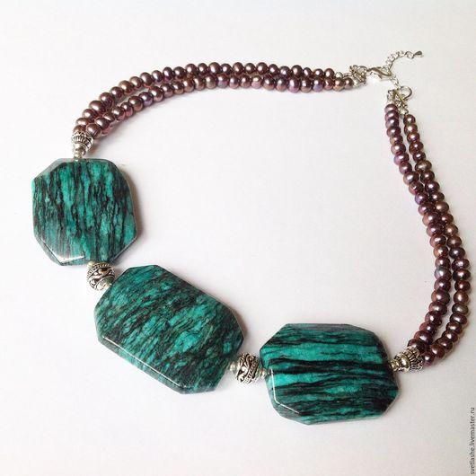Колье бусы ожерелье крупное  из жемчуга и яшмы купить в подарок девушке женщине любимой подруге маме  украшение на шею из натуральных камней