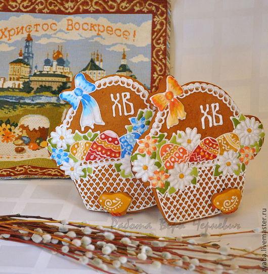 Кулинарные сувениры ручной работы. Ярмарка Мастеров - ручная работа. Купить Пряничная пасхальная корзинка. Handmade. Корзинка с цветами, пряники