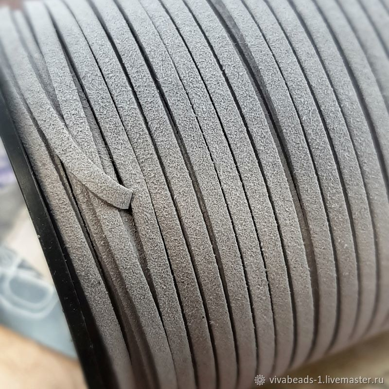 Suede cord (suit.) 3 mm grey (4021), Cords, Voronezh,  Фото №1