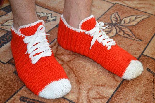Обувь ручной работы. Ярмарка Мастеров - ручная работа. Купить Мужские носки-кеды. Handmade. Носки, крючком, для мальчика