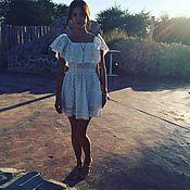 Одежда ручной работы. Ярмарка Мастеров - ручная работа Белое платье из хлопкового шитья. Handmade.
