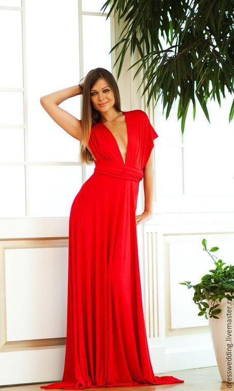 Платье трансформер в пол  красный (платья для подружек невесты идеальное решение на свадьбу) Все размеры от детских до 60р От 3-х единиц бабочки для друзей жениха -БЕСПЛАТНО!!! Цена всего 2900р