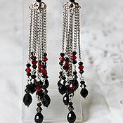 Украшения handmade. Livemaster - original item Earrings with chains and crystal beads Carmen. Handmade.