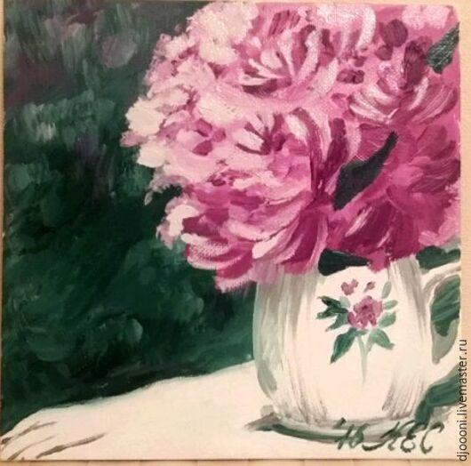 Картины цветов ручной работы. Ярмарка Мастеров - ручная работа. Купить Пионы в кувшине. Handmade. Фуксия, пионы, ваза, подоконник