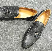 Обувь ручной работы handmade. Livemaster - original item Loafers: Men`s ostrich leather shoes, in black. Handmade.