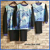 Одежда ручной работы. Ярмарка Мастеров - ручная работа Комплект Family look пижамы для всей семьи. Handmade.