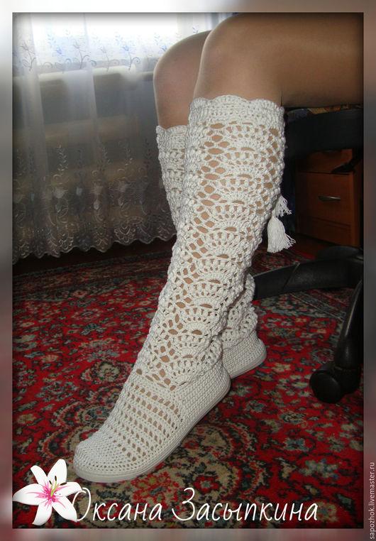Обувь ручной работы. Ярмарка Мастеров - ручная работа. Купить сапожки вязаные для улицы. Handmade. Белый, сапожки ручной работы