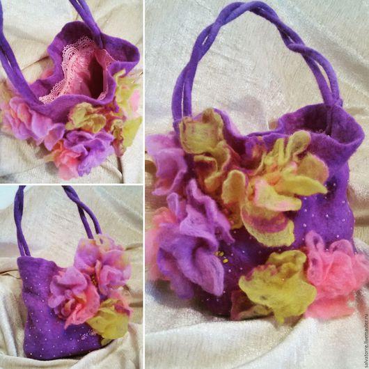 Женские сумки ручной работы. Ярмарка Мастеров - ручная работа. Купить Валяная сумка для девочки. Handmade. Сиреневый