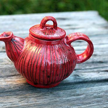 Посуда ручной работы. Ярмарка Мастеров - ручная работа Изумительно красненький и домашний чайник. Handmade.