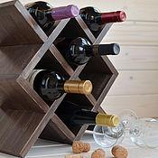 """Для дома и интерьера ручной работы. Ярмарка Мастеров - ручная работа """"Марго"""", Деревянная винная полка, винный шкаф стеллаж полка из дерева. Handmade."""