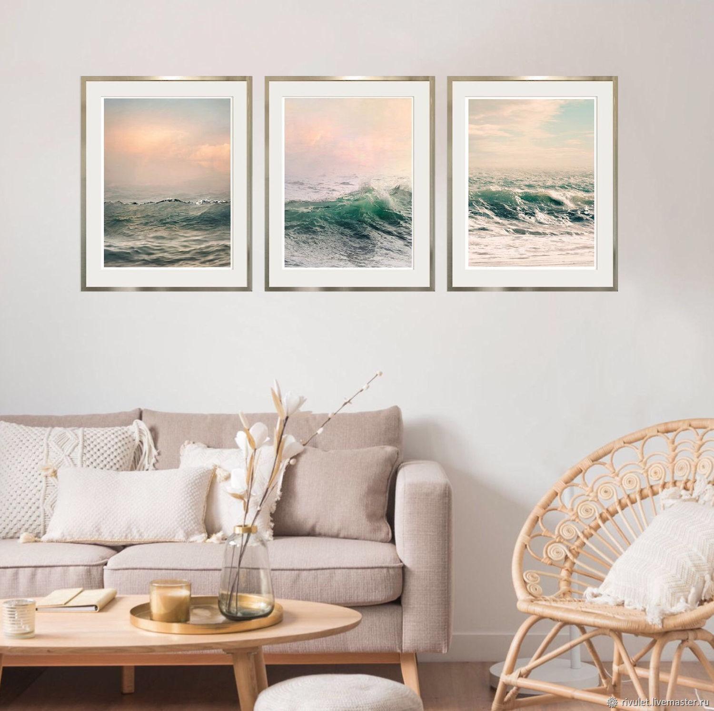 Морской пейзаж Фото картины для интерьера спальни Триптих, Фотокартины, Москва,  Фото №1