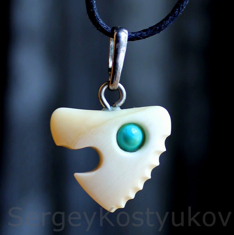 Amulet of luck. The tooth of a sperm whale, and turquoise, Amulet, Kharkiv,  Фото №1