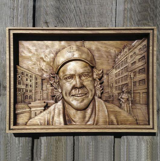 Люди, ручной работы. Ярмарка Мастеров - ручная работа. Купить Портрет Фернандо Алонсо. Handmade. Коричневый, резной портрет