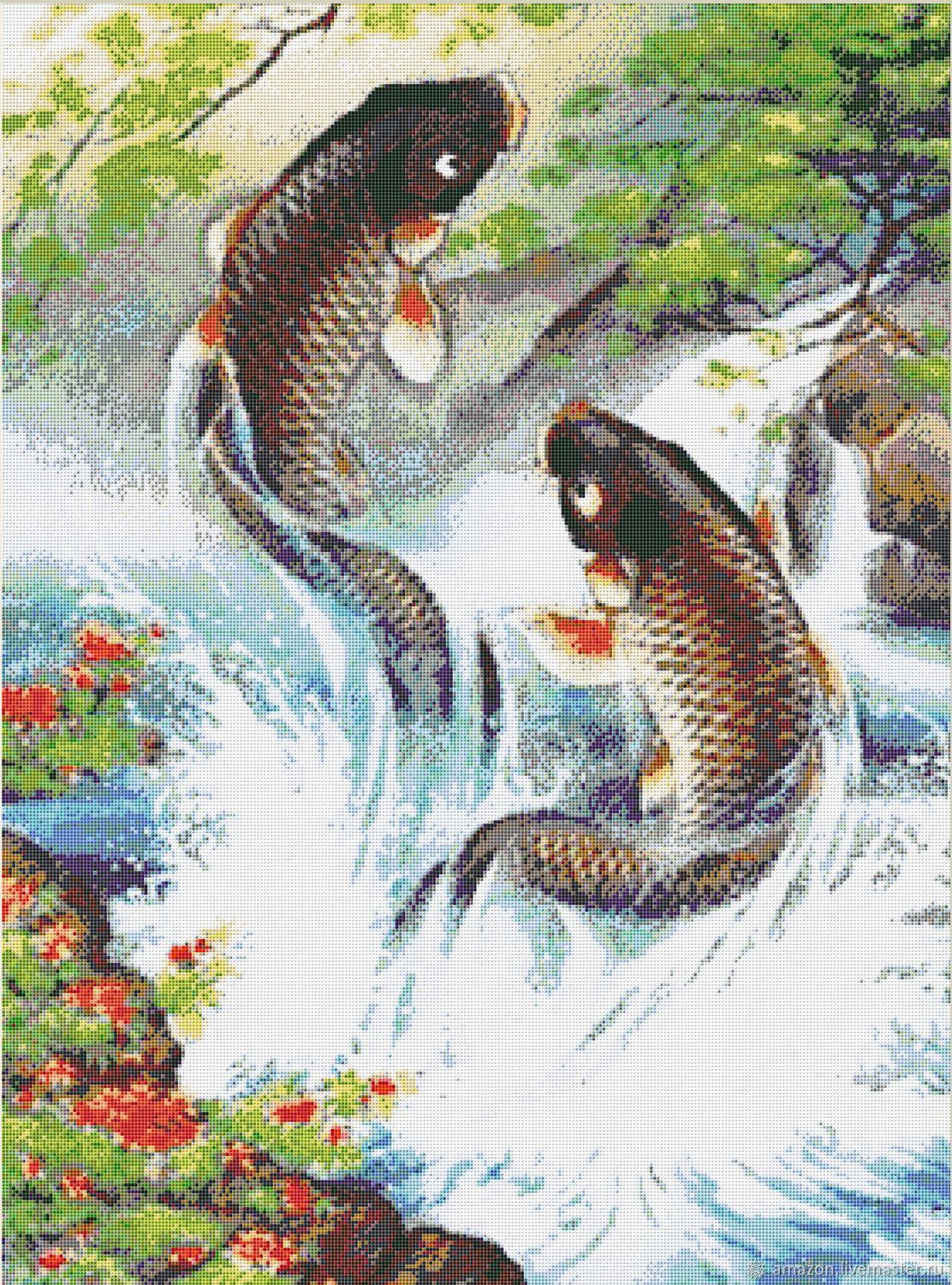 Kit embroidery with beads ' JUMPING CARP ', Embroidery kits, Ufa,  Фото №1