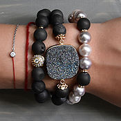 Украшения handmade. Livemaster - original item Set of bracelets with pyrite and Mallorca. Handmade.