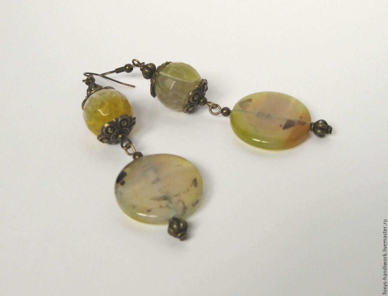 Long earrings with agate, Earrings, Tula,  Фото №1