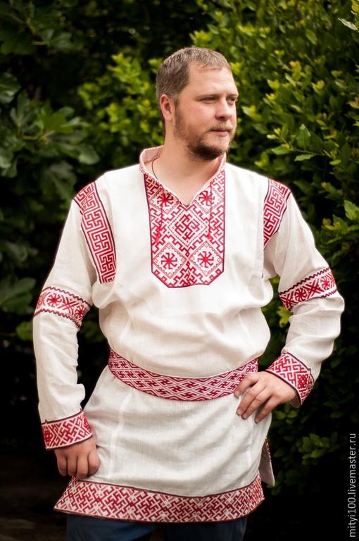 Одежда ручной работы. Ярмарка Мастеров - ручная работа. Купить Рубаха КОЛЯДНИК. Handmade. Белый, славянский стиль, вышивка крестом