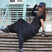 Одежда handmade. Livemaster - original item Loose, black cotton pants - PA0800TR. Handmade.