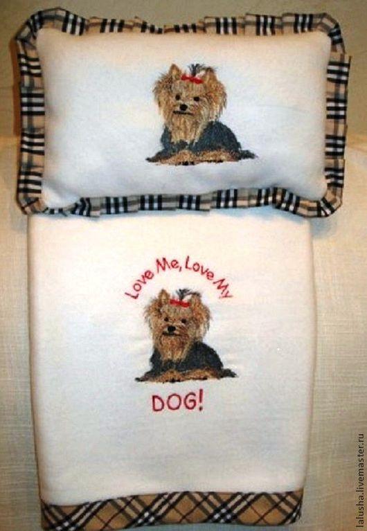 Аксессуары для собак, ручной работы. Ярмарка Мастеров - ручная работа. Купить Пледик и подушка для любимого песика. Handmade. Белый