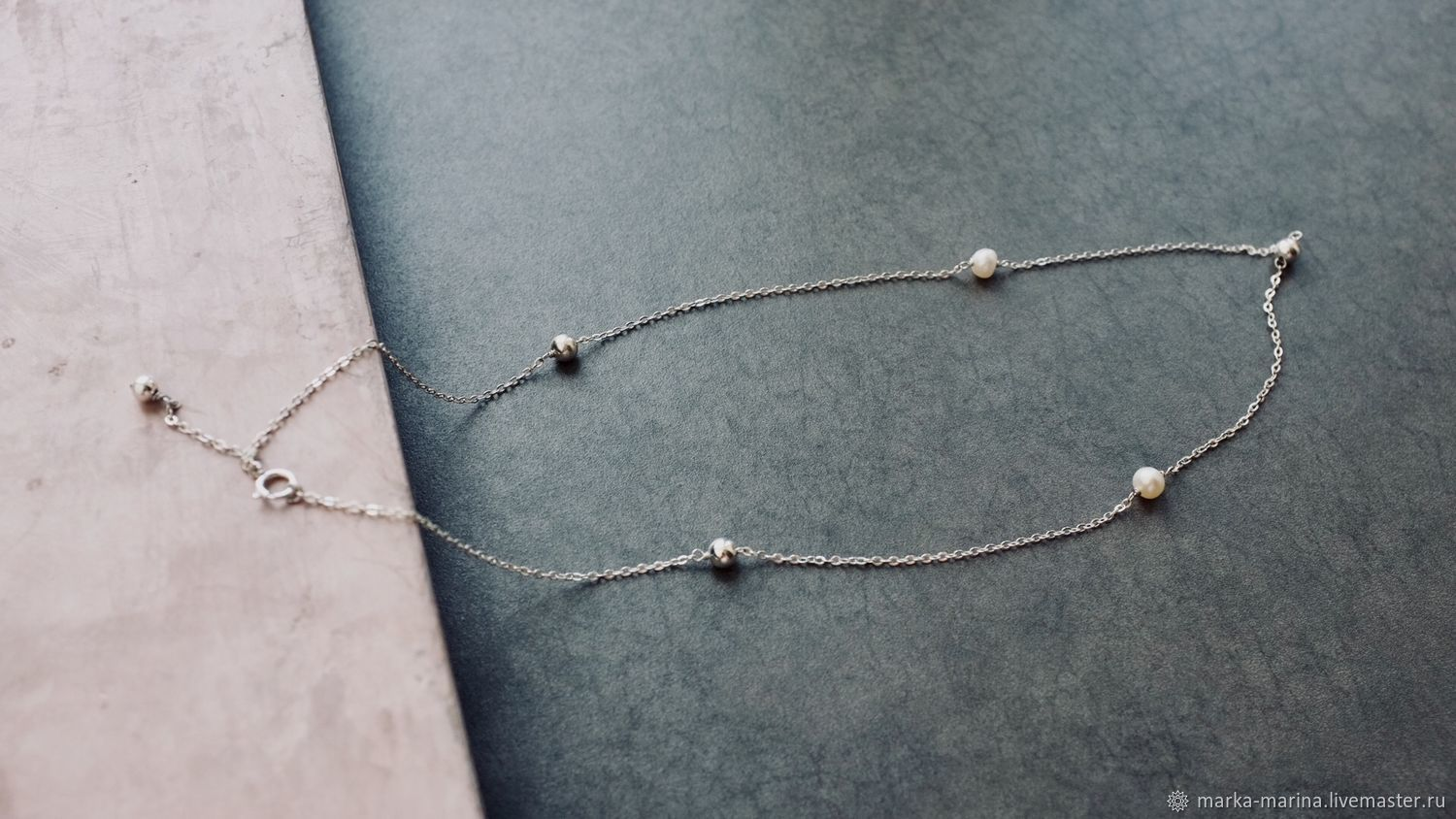 Chain on a neck from silver 925 and natural pearls, Necklace, Samara,  Фото №1