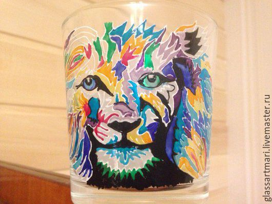 Бокалы, стаканы ручной работы. Ярмарка Мастеров - ручная работа. Купить Стакан для виски роспись Мексиканский лев. Handmade. Комбинированный