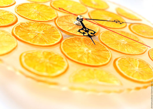 Авторская работа Irina Korchma. Часы на стену, настенные часы, купить часы, часы ручной работы, часы кварцевые, часы настенные для декора, часы настенные солнечные, желтый оранжевый цвет. Яркие!