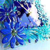 Для дома и интерьера ручной работы. Ярмарка Мастеров - ручная работа часы из стекла, фьюзинг  Синь да бирюза. Handmade.
