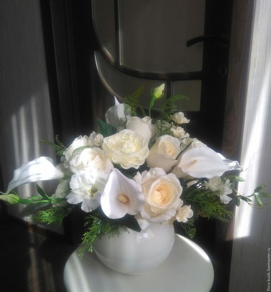 Интерьерные композиции ручной работы. Ярмарка Мастеров - ручная работа. Купить Белый танец. Handmade. Белый, розы