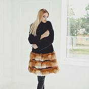 Одежда handmade. Livemaster - original item Fox fur coat in black & red. Handmade.