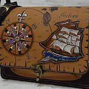 """Сумки и аксессуары ручной работы. Ярмарка Мастеров - ручная работа сумка кожаная пиратская карта  """"летучий голландец"""". Handmade."""