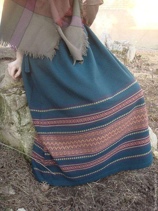 Этническая одежда ручной работы. Ярмарка Мастеров - ручная работа. Купить юбка в народном стиле  ,,Весна,,. Handmade. Морская волна