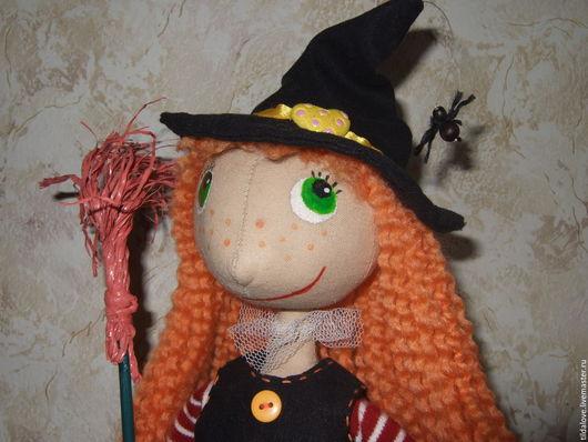 Куклы тыквоголовки ручной работы. Ярмарка Мастеров - ручная работа. Купить Добрая Ведьма. Handmade. Оранжевый, Осенние цвета, синтепон
