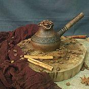 Посуда ручной работы. Ярмарка Мастеров - ручная работа Керамическая турка для кофе по-восточному. Джезва глиняная. Handmade.